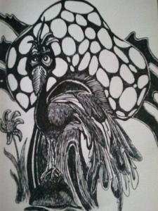 Mushroom with Peacock